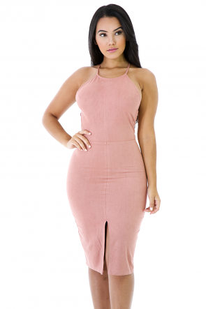 Suede Strappy Open Back Bodycon Dress