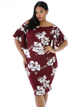 Floral Print Boat Neck Ruffle Sleeves Dress