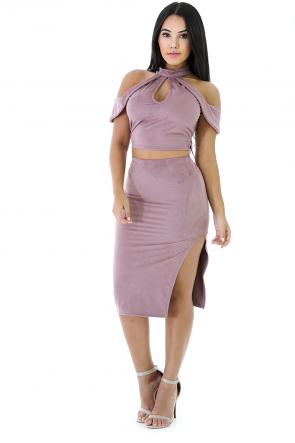 Suede Skirt Set
