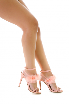 Feather Ankle Strap Open Toe Heel
