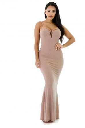 Shimmer Surplice Maxi Dress
