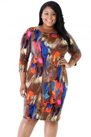 Painted Print Bodycon Dress