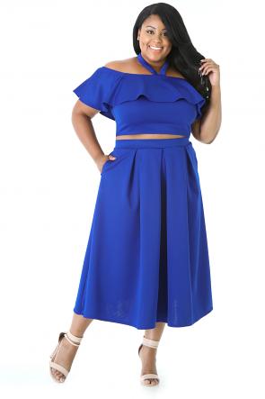 Halter Strap Ruffle Skirt Set