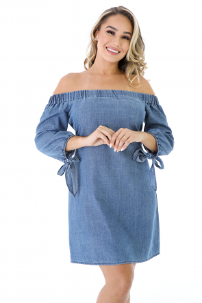 Bow Sleeves Denim Dress