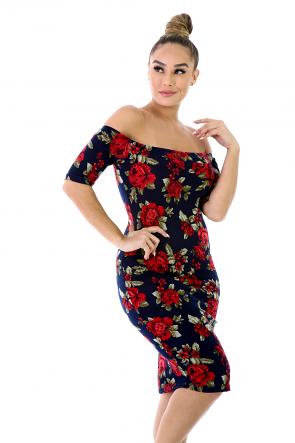 Rib Knit Rose Dress