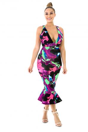 Sleeveless Colorful Dress