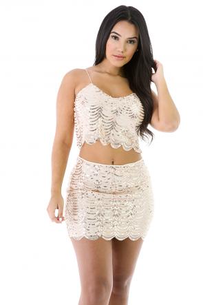 Sequin Mini Skirt Set