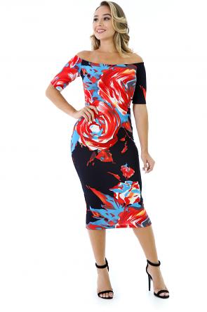 Swirling Rose Midi Dress