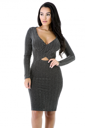 Chevron Long Sleeve Sequin Dress