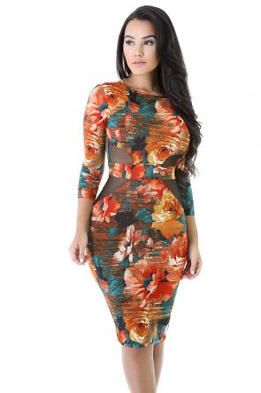 Long sleeve Rose Bodycon dress