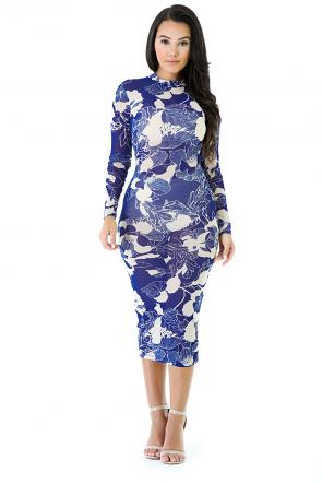 Blue Rose Halter Neck Bodycon Dress