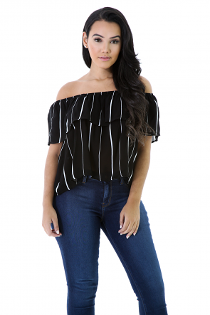 Striped Flare Top