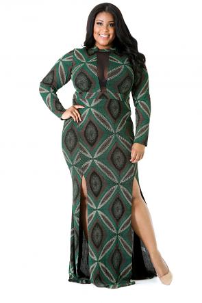 Long Sleeve Glitter Maxi Dress