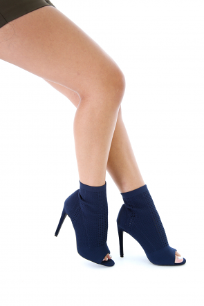 Peep Toe Knit Ankle Booties
