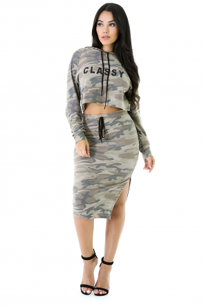 Classy Camouflage Skirt Set