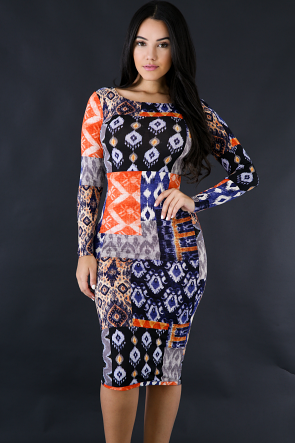 Tribe Long Sleeve Bodycon Dress