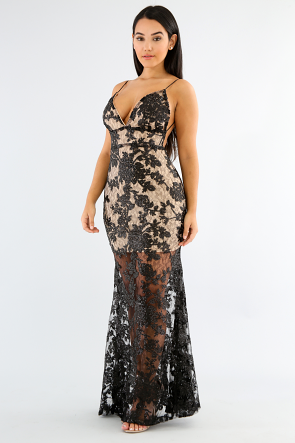 Sequin Lace Strap Dress