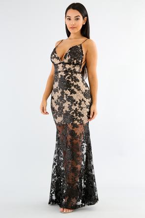 Sequin Lace Strap Dress