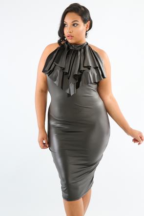 Leather Halter Ruffle Open Back Bodycon Dress
