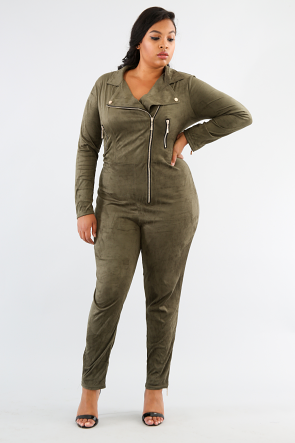 Suede Zipper Jumpsuit