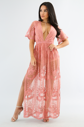 Paisley Lace Maxi Dress