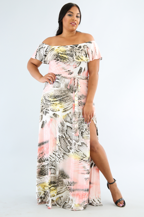 Marbleized Off Shoulder Maxi Dress