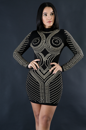 Long Sleeve Rhinestone Dress