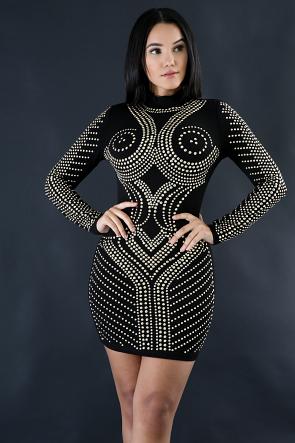Long Sleeve Rhinestone Dress