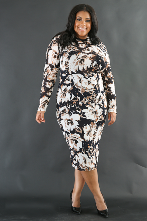 Rustic Floral Bodycon Dress