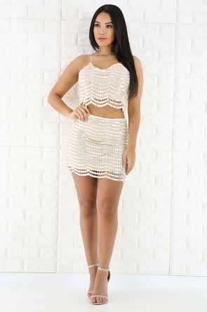 Sequin Lace Mini Skirt Set