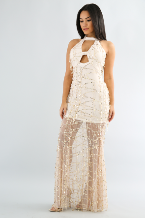 Dangle Sequin Maxi Dress