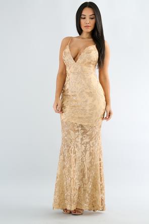 Speckled Glitter Sequin Maxi Dress