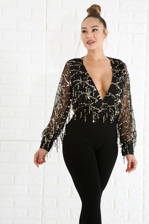 Dangle Sequin Bodysuit