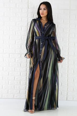 Long Sleeve Stripes Color Full Dress