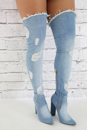 Denim Distressed Over The Knee Boots