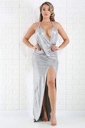 Silver Drape Dress