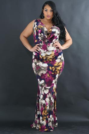 Floral Drape Maxi Dress