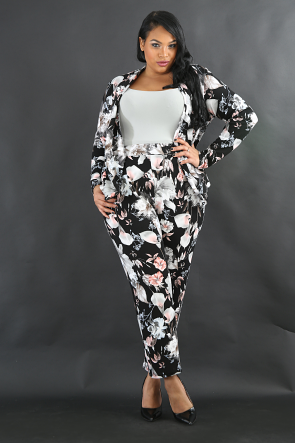 Winter Floral Pants Set