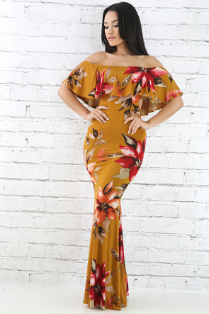 Off Shoulder Fall Floral Maxi Dress