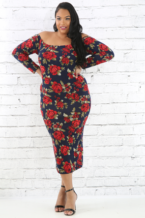 Rose Rib Knit Dress