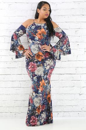 Multi Floral Flare Maxi Dress