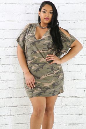 Camouflage Choker Dress