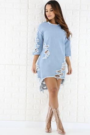 Shredded Denim Dress