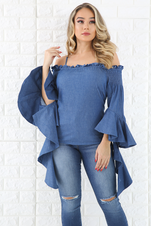 Bell Sleeves Denim Top