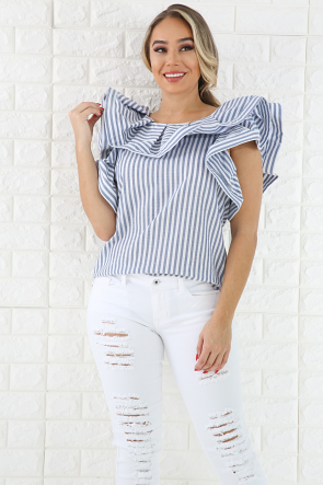 Swirl Striped Denim Top