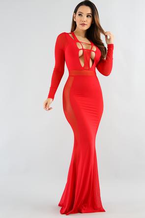 Viola Sheer Mesh Maxi Dress
