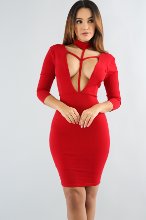 V-Choker Bodycon Dress