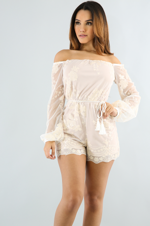 Off Shoulder Sheer Mesh Sequin Romper