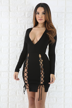 Deep V-Neck Lace Up Mini Dress