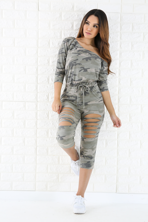 Sliced Camouflage Jumpsuit